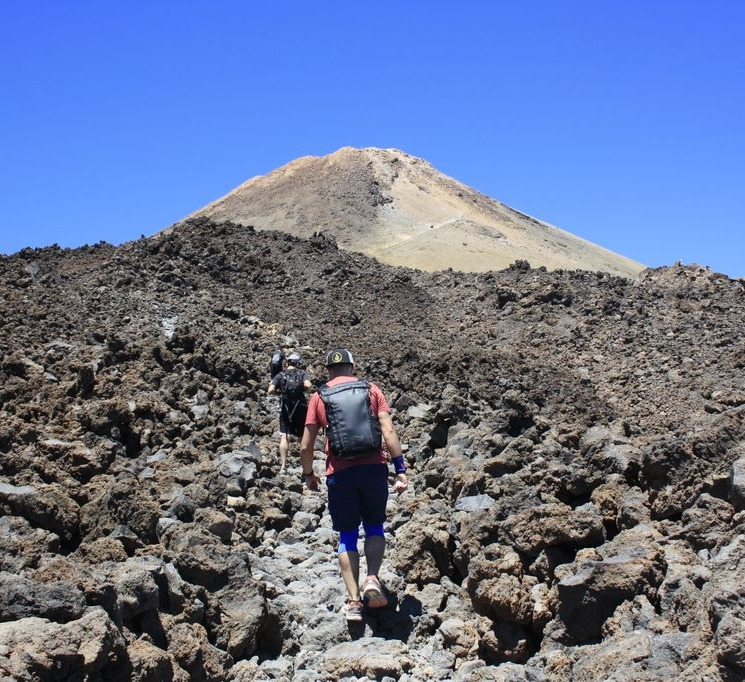 Hikers walking up to Mount Teide